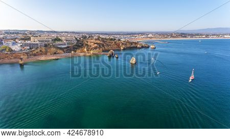 Dona Ana Beach In Lagos, Algarve - Portugal. Portuguese Southern Golden Cliffs. Camilo And Pinhao Be