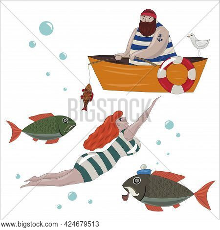 Marine Set With Sailor, Fish, Boat, Anchor And Seagull. A Sailor With A Fishing Rod In His Hands Cau