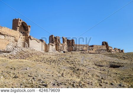 Panoramic View Onto Powerful Walls Of Medieval City Ani, Near Kars, Turkey. City Was Founded In 5 Ce