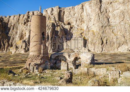 Remains Of Medieval Osman Mosque & Its Minaret In Old City Of Van, Near Famous Van Fortress, Van, Tu