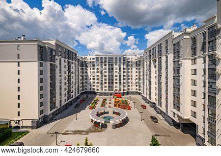 Typical brand new luxurious condo apartment building in Chisinau, Moldova