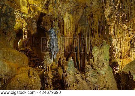 Stalactites & Stalagmites Of Cave Astim Or Asthma, Kizkalesi, Turkey. It's Large Underground Karst C