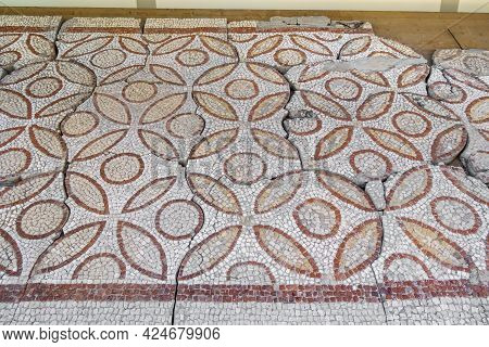 Floor Mosaics Of Byzantine Era (vi Ad). There Are Repeating Pattern Of Circles And Leaf-like Ornamen