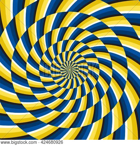 Optical Motion Illusion Vector Background. Yellow Blue Spiral Striped Pattern Move Around The Center