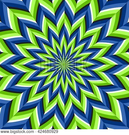 Optical Motion Illusion Vector Background. Green Blue Abstract Flower Move Around The Center.