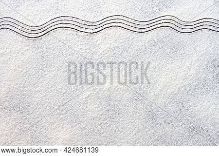 White Flour Sand Waves Texture On Dark Table. Baking, Cooking Food Meal Background. Top View, Copy S