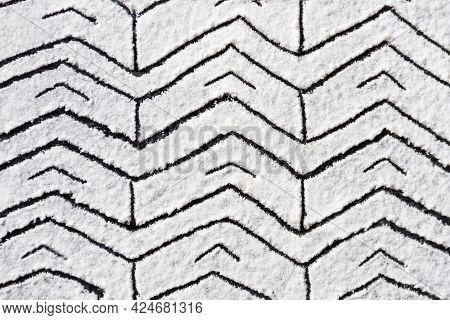 Hand Drawn Geometric Pattern Ornament Printed On White Flour, Sand, Powder. Bakery Background Design