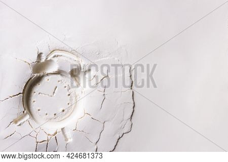 Abstract Grainy Texture Isolated On White Background. Dust, Sand Blow, Flour, Powder, Dough. Silhoue