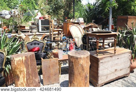 Vintage and antique objects at the flea market outdoor, Istanbul, Turkey