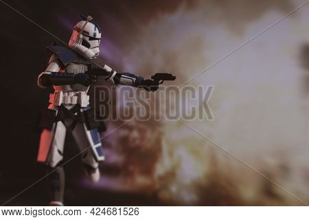 JUNE 23 2021: Star Wars The Clone Wars, clone arc trooper Echo  of the 501st in action - Hasbro action figure