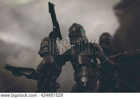 JUNE 23 2021: Disney Plus Star Wars The Bad Batch Elite Squad Troopers in action - Hasbro action figure