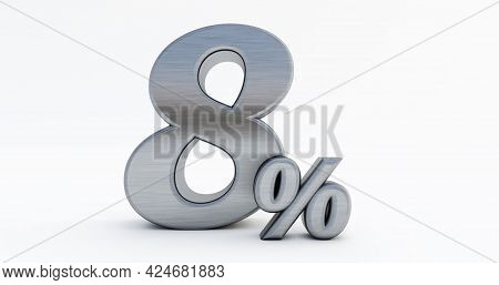 3d Render Of 8 Percent Off, Metal Eight Percent Isolated On A White Background.