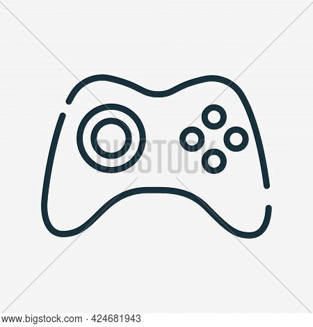 Gamepad For Video Game Line Icon. Wireless Game Controller Or Joystick Linear Icon. Console Symbol.