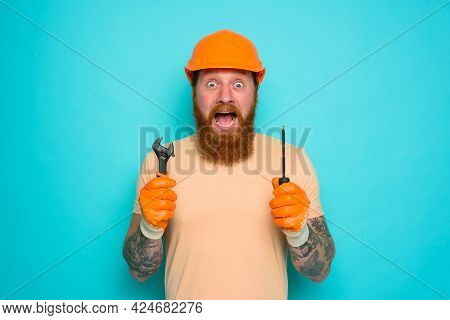 Incompetent Worker Is Afraid And Worried About His Work