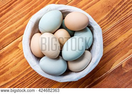 Fresh Chicken And Duck Eggs Collect From Farm Products Natural On A Wooden Table. Healthy Eating Con