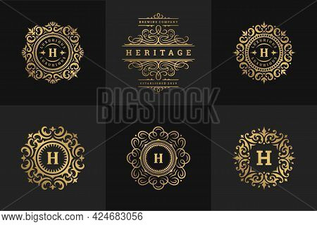 Luxury Logos And Monograms Crest Design Templates Set Vector Illustration