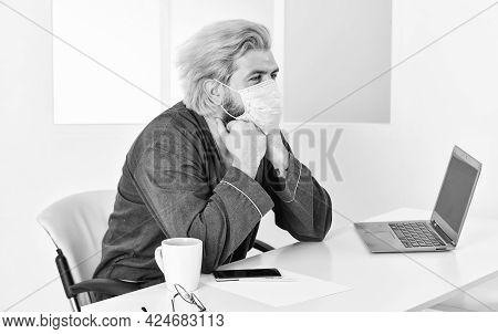 Limit Spread Disease. Remote Communication. Social Distancing. Man Freelancer Working Online. Guy We