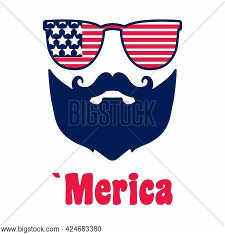 4th Of July, Man With Moustache, Beard. Face Of Bearded Man In Glasses With American Flag For Indepe