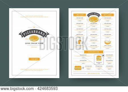 Pizzeria Restaurant Menu Layout Design Brochure Or Flyer Template Vector Illustration