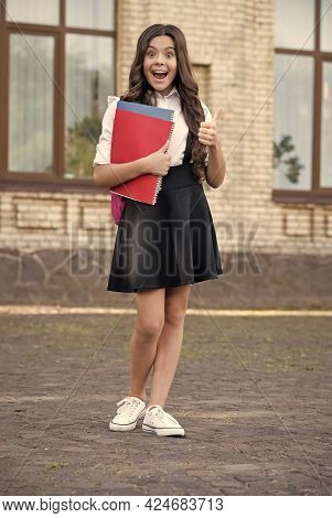 Best Time Is School Time. Happy Child Give Thumbs Up Outdoors. Back To School. Formal Education. Fas