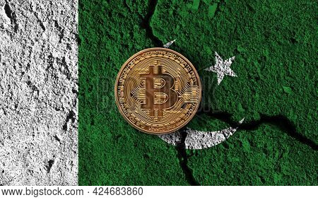 Bitcoin Crypto Currency Coin With Cracked Pakistan Flag. Crypto Restrictions