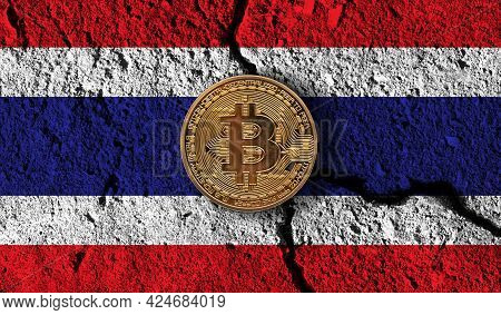 Bitcoin Crypto Currency Coin With Cracked Thailand Flag. Crypto Restrictions