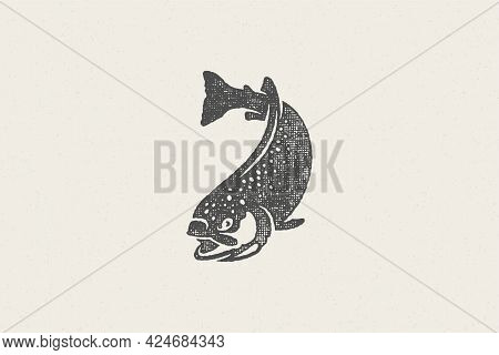 Swimming Trout Fish Silhouette For Fishing Club Or Seafood Market Hand Drawn Stamp Effect Vector Ill