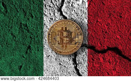 Bitcoin Crypto Currency Coin With Cracked Mexico Flag. Crypto Restrictions