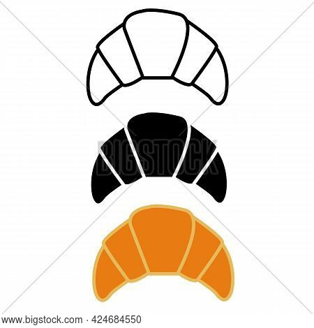 Croissant Icon On White Background. Bakery Croissant Outline. Croissant Cake Sign. Flat Style.