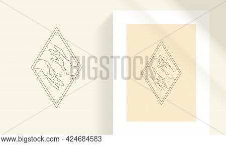 Female Tender Hands As Love And Care Concept Line Art Style Vector Illustration