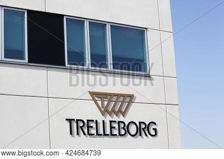 Aarhus, Denmark - April 18, 2021: Trelleborg Office Building. Trelleborg Ab Is A Global Engineering