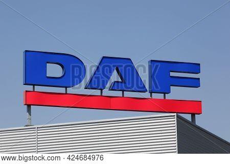 Kolding, Denmark - August 16, 2020: Daf Logo On A Building. Daf Trucks Is A Dutch Truck Manufacturin