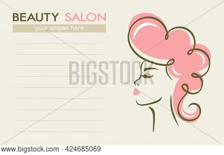 Beauty Salon Business Card. Face Of A Beautiful Woman With Pink Hair On A Light Beige Background, Li