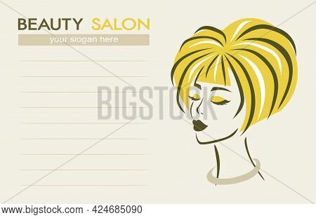 Beauty Salon Business Card. Face Of A Beautiful Woman With Yellow Hair On A Light Beige Background,