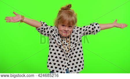 No Idea, I Dont Know Answer. Puzzled Clueless Uncertain Blonde Kid Child Raising Hands In Helpless G