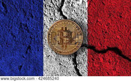 Bitcoin Crypto Currency Coin With Cracked France Flag. Crypto Restrictions