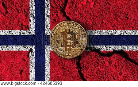 Bitcoin Crypto Currency Coin With Cracked Norway Flag. Crypto Restrictions
