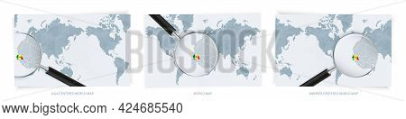 Blue Abstract World Maps With Magnifying Glass On Map Of Senegal With The National Flag Of Senegal.
