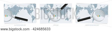 Blue Abstract World Maps With Magnifying Glass On Map Of Ivory Coast With The National Flag Of Ivory