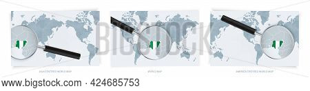 Blue Abstract World Maps With Magnifying Glass On Map Of Nigeria With The National Flag Of Nigeria.