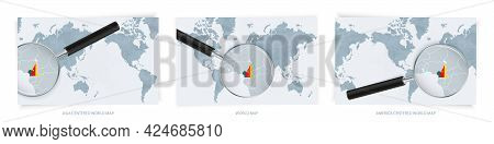Blue Abstract World Maps With Magnifying Glass On Map Of Cameroon With The National Flag Of Cameroon