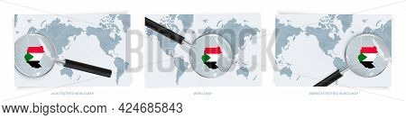 Blue Abstract World Maps With Magnifying Glass On Map Of Sudan With The National Flag Of Sudan. Thre