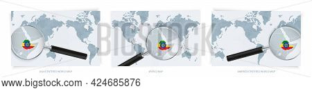 Blue Abstract World Maps With Magnifying Glass On Map Of Ethiopia With The National Flag Of Ethiopia