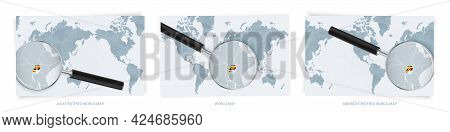 Blue Abstract World Maps With Magnifying Glass On Map Of Uganda With The National Flag Of Uganda. Th