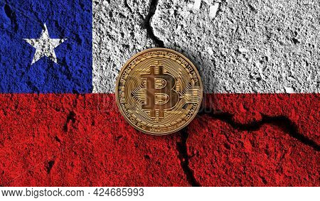 Bitcoin Crypto Currency Coin With Cracked Chile Flag. Crypto Restrictions