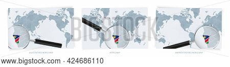 Blue Abstract World Maps With Magnifying Glass On Map Of Namibia With The National Flag Of Namibia.