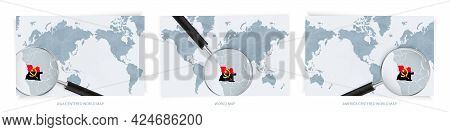 Blue Abstract World Maps With Magnifying Glass On Map Of Angola With The National Flag Of Angola. Th