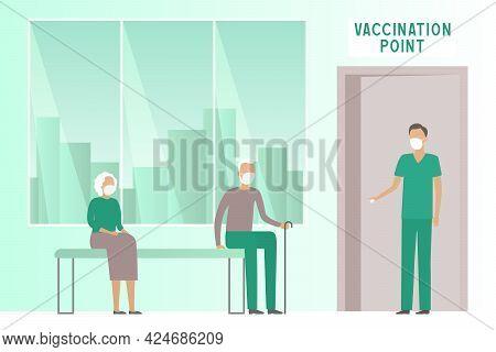 Paramedic Inviting Retiree For Vaccination. Vector Illustration.