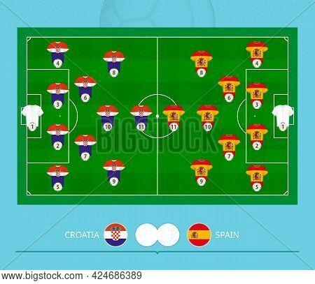 Football Match Croatia Versus Spain, Teams Preferred Lineup System On Football Field. Vector Illustr