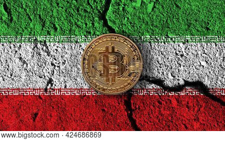 Bitcoin Crypto Currency Coin With Cracked Iran Flag. Crypto Restrictions